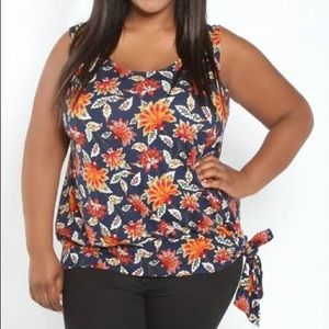 NWT Swak floral tank with side tie size 1X